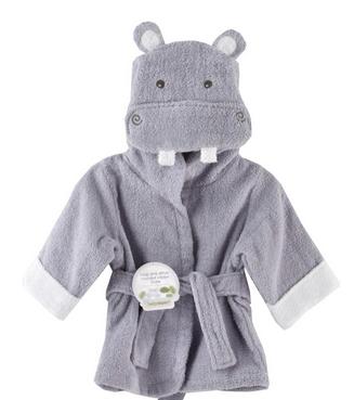 "Baby Aspen小河馬款寶寶浴袍Baby Aspen ""Hug-alot-amus"" Hooded Hippo Robe, Lavender, 0-9 Months"